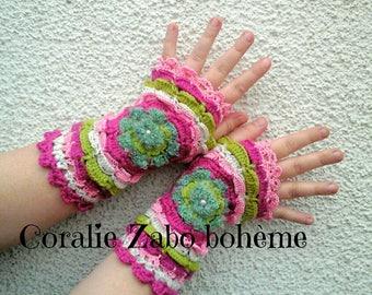 Mitaines en laine femme-mitaines crochet boheme-mitaines laine et coton-bohème chic-coralie-zabo-boheme