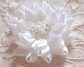 Handmade Ribbon Flower With Beads (2-3/4 inches) MY-677-05 Ready To ship