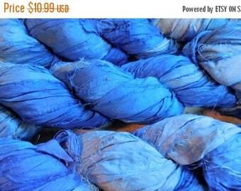 Summer Sale 50 Yards,  Baby Boy Blue,  Sari Silk Ribbon Skein,  Fair Trade from India