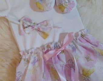 Disney Princess Bodysuit Baby Dress with Matching Headband - Baby dress, Disney dress, Princess Bodysuit dress, Baby gift, Photoshoot dress