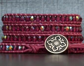 READY TO SHIP cranberry crystal on bright pink leather wrap bracelet - pomegranate - boho jewelry - deep pink
