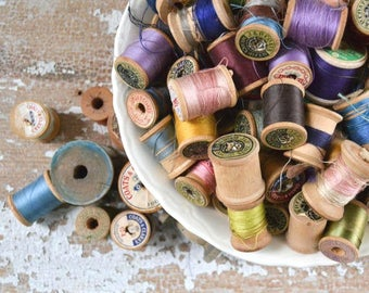 Vintage Wooden Thread Spools - Collection of 105 Antique Sewing JP Coats Wood
