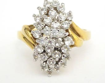 Rhinestone Cluster Dinner Ring – 1960s Jewelry – Rhinestone Ring – Faux Diamond Cluster Ring – Vintage Jewelry – Size 9 3/4