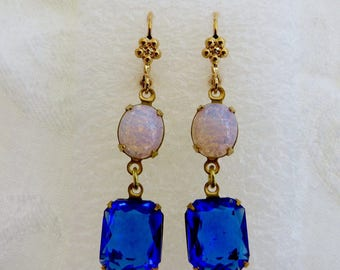 Czech Glass Earrings, Fire Opal & Cobalt Glass Dangle, Drop Earrings, Pierced Ears