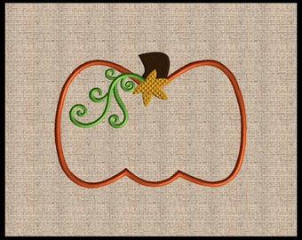 Pumpkin Applique Embroidery Design Mini Pumpkin Embroidery Design Fall Embroidery Design Thanksgiving Embroidery Design 4 sizes