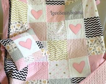 GOLD n HEARTS/Sweetheart quilt/Handmade quilt/Matching pillow is add-on