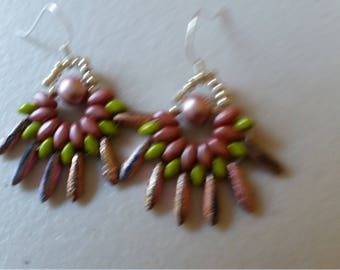 Pink & Green Fan Earrings
