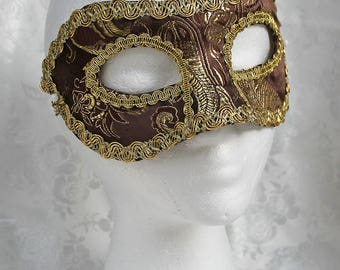 Brown Brocade Mask, Brown Gold Metallic Brocade Masquerade Mask