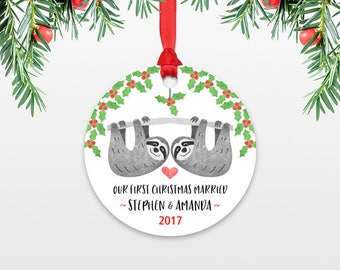 Sloth Couple First Christmas Ornament Personalized, Our First Christmas Married, 1st First Christmas Engaged, First Christmas Together