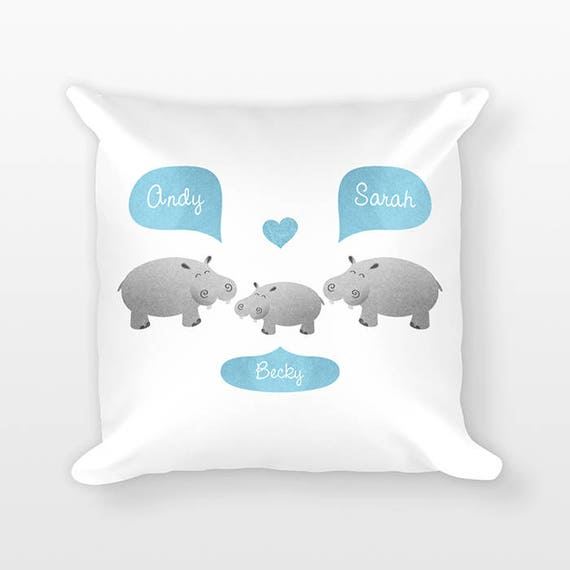 Hippo Nursery Pillow Jungle Nursery Decor, Personalized Baby Gift, Baby Shower Gift, Pillow for Kids Room Decor, Animal Nursery Throw Pillow