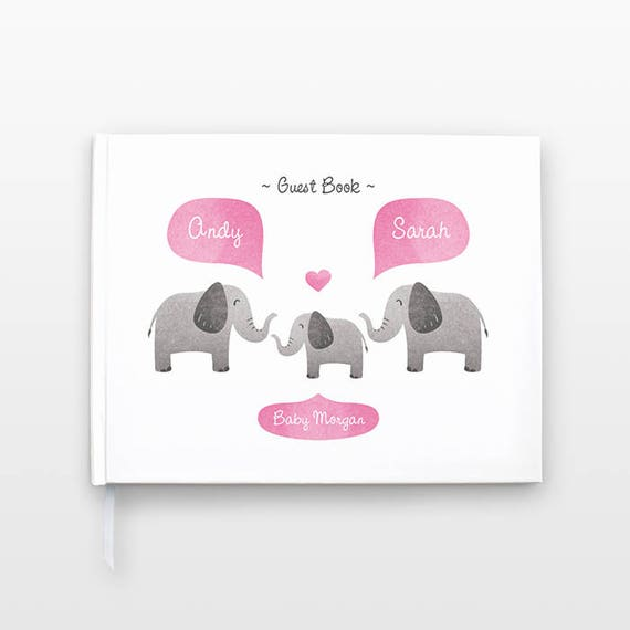 ELEPHANT Baby Shower Guest Book, Personalized Baby Book, Animal Baby Guestbook, New Baby Gift, Baby Journal, Baby Notebook, Baby Guest Book