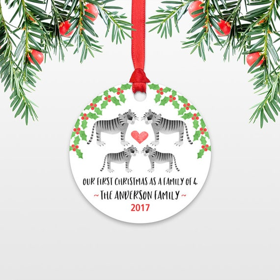 New Baby Christmas Ornaments Christmas Family Ornament New Parents Our First Christmas as a Family of Four 4 Tiger Personalized Ornament