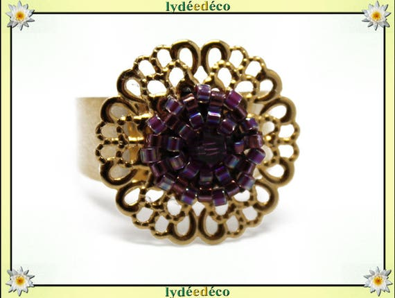 PURPLE print with brass flower ring gold plated 24 carat 24 K woven beads Japanese purple colors 20mm adjustable