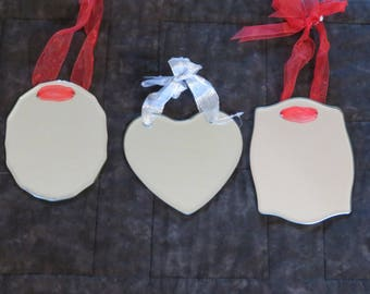 Mirror ornaments,ass't styles,ready to etch,paint or finish,Heart,Oval or Rectangle w ribbon hangers,Christmas