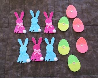 Foam & Felt Easter stickers,Bunnies w cotton ball tails,eggs w/ rhinestones,12 pcs/pkg,kid's craft,cards,scrapbooking