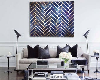 Herringbone Pattern Abstract Geometric Textured Metallic Painting