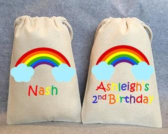 "10- Rainbow Party, Rainbow party bags, Rainbow birthday party, first birthday, second birthday themes, Rainbow party favor bags, 4""x6"""