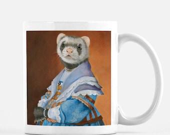 "Ferret, Ferrets, Mug, Ferret Art, Vintage Ferret, Ferret Portrait, Ferret Gifts, ""Lady Ferret"""