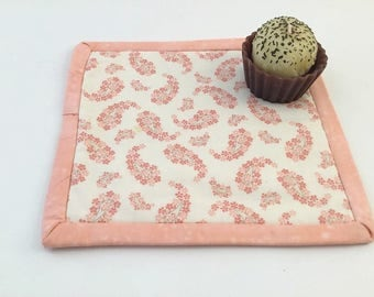 Pot Holder Trivet, Mug Rug, Coaster, Candle Mat, Peach floral paisley