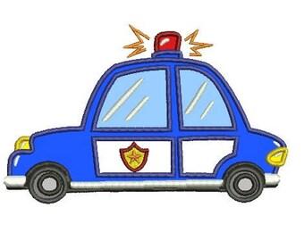 police car applique embroidery design