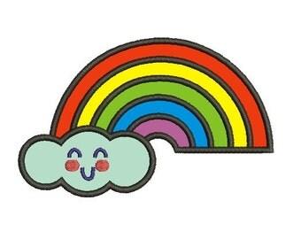 rainbow applique embroidery design