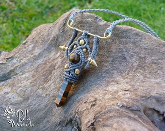 New Collection. Tribal viking macrame necklace with natural Tiger Eye crystal point.