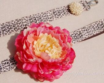 Modern leopard Collar.big flower leash for dog.weddings dog leash. handmade leash,dog fashion,Very cute gift for dog