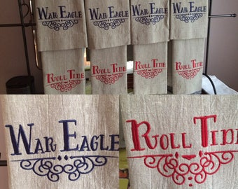War Eagle  Roll Tide Linen Towels