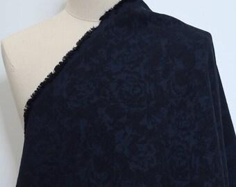 Navy Blue Floral Linen Cotton Fabric Half Metre GZ718