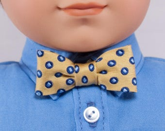 "Bow Tie for 18"" dolls - Yellow with Blue Polka-dots.  Pre-tied with a snap closure.  Boy doll dress clothes accessories."