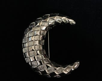 Vintage JBK (Jackie B. Kennedy) Quilted Crescent Moon Brooch (Tier 2)