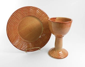 Pottery communion set - chalice and paten set - amber communion set - liturgical ware - communion ware W250