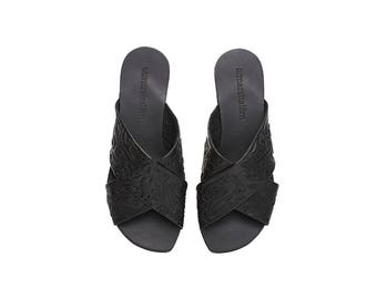 Black leather crossover sandals, Simone, floral texture, handmade flat sandals
