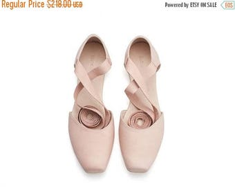 CHRISTMAS IN JULY Blush leather ballerina shoes, pink ballerina shoes, brides shoes, ana, pink shoes