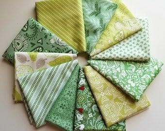 North Woods Green Fat Quarter bundle - Kate Spain - Moda (11 prints, 2.75 yards total)