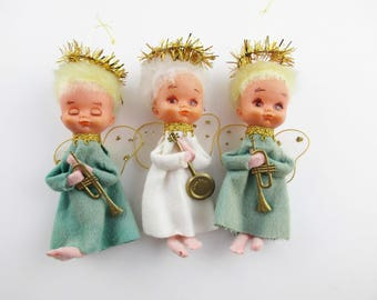 Three Vintage Angels - Christmas Angels - Felted Bodies - Wings - Fuzzy Hair - From the 1940s - Unique - Musical Instruments - NAPCO, Japan