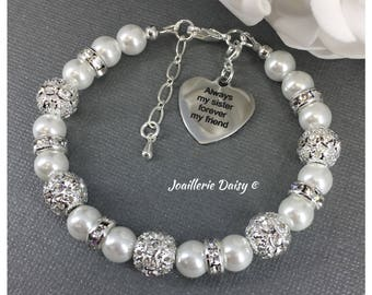 Always my Sisters Forever my Friend Charm Bracelet Gift for Sister Birthday Gift Pearl Bracelet Thank You Gift Sibling Gift from Brother