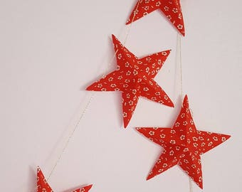 "The ""6 magic stars"" paper Garland red and white small flowers"