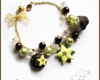 "Bracelet christmas  "" poinsettia and cake "" yellow brown  cake xmas kids woman gift idea beads red"