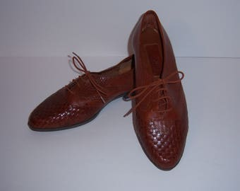 Vintage Sumi Whiskey Brown Woven Braided Oxfords Wingtips Brogues Leather Loafers 7 Medium Brazil Spectators Perforated