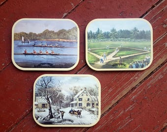Set of Three Vintage Southern Comfort Coasters - 1980's