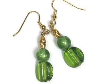 Green Earrings Green Glass Earrings Green Crystal Dangle Earrings Lime Green Earrings Mod Boho