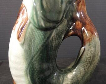 1880s English Majolica Gurgle Fish Pitcher