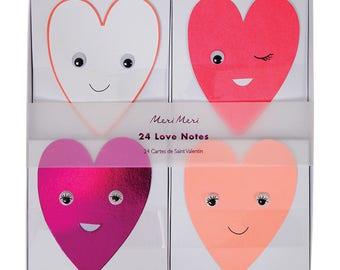 Girls  Meri Meri Heart googling eyes Valentine box set of 24