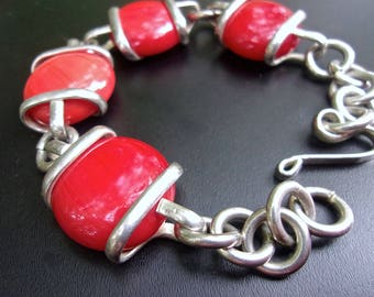 Red Glass Sterling Silver Bracelet, Toggle Clasp, Vintage