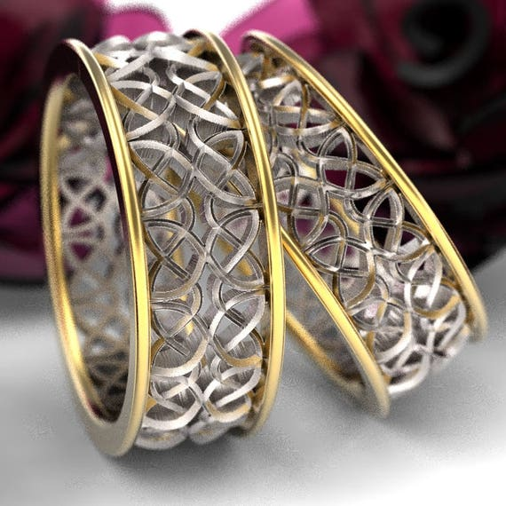 Celtic 2-Tone Wedding Ring Set With Mirrored Dara Knotwork Design Made in 10K 14K 18 Gold or Palladium, Made in Your Size cr-639