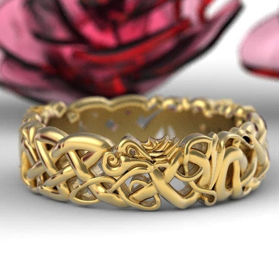gold celtic dragon wedding ring womens wedding band norse wedding ring viking wedding - Viking Wedding Rings