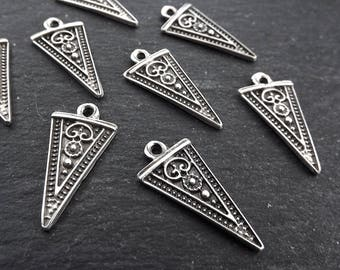 Long Arrow Spear Head Spike Charms Detailed Tribal Ethnic Matte Antique Silver Plated Jewelry Making Supplies Findings Components - 8pc
