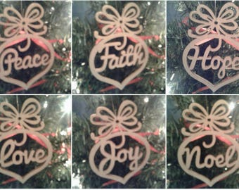 Wooden Christmas Ornament 6 Piece Set Hope, Joy, Noel, Love, Peace, Faith