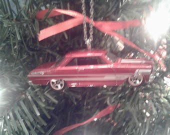 Hot Wheels Christmas Ornament 1963 Chevy II Red with White Stripes Chevrolet Tree Decoration Mechanic Garage Ornament Gift for Him